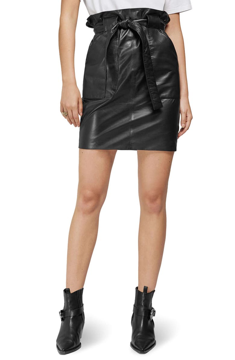 ANINE BING Laurie Paperbag Waist Leather Miniskirt, Main, color, BLACK