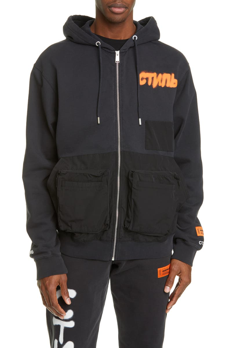HERON PRESTON Contrast Pocket Zip Hoodie, Main, color, 001