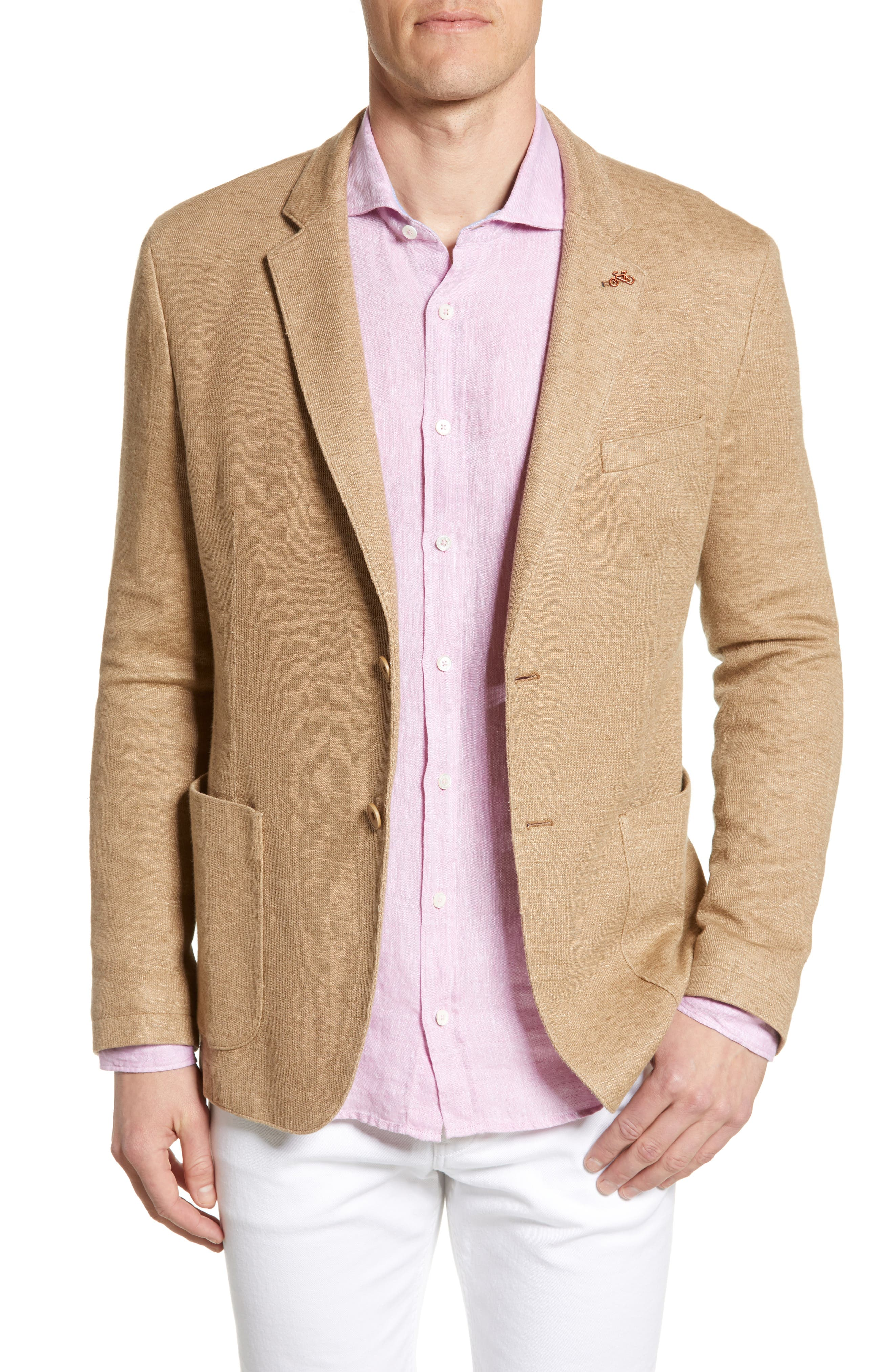 men's bugatchi regular fit cotton & linen blazer