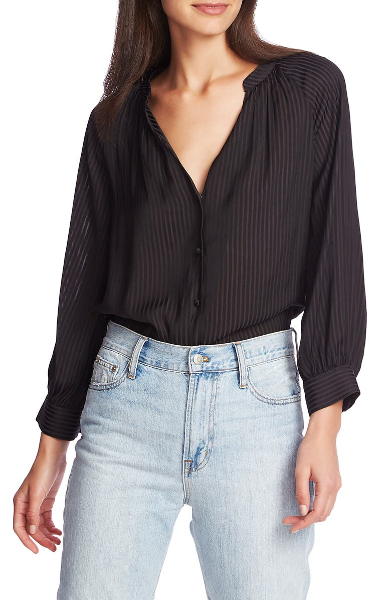 1.STATE Shadow Stripe V-Neck Button Front Blouse, Main, color, RICH BLACK