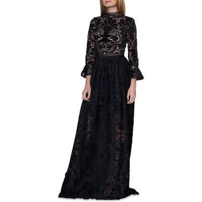 Ml Monique Lhuillier Burnout Velvet Gown, Black