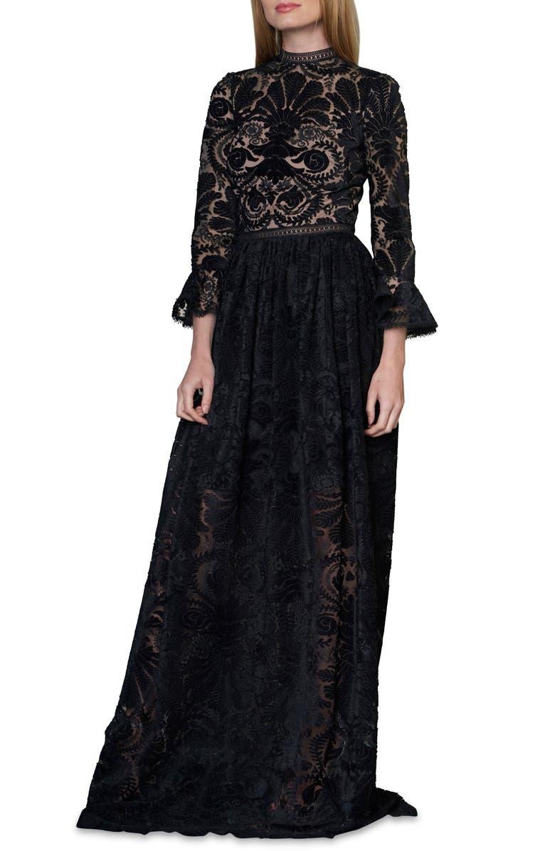 ML MONIQUE LHUILLIER Burnout Velvet Gown, Main, color, JET