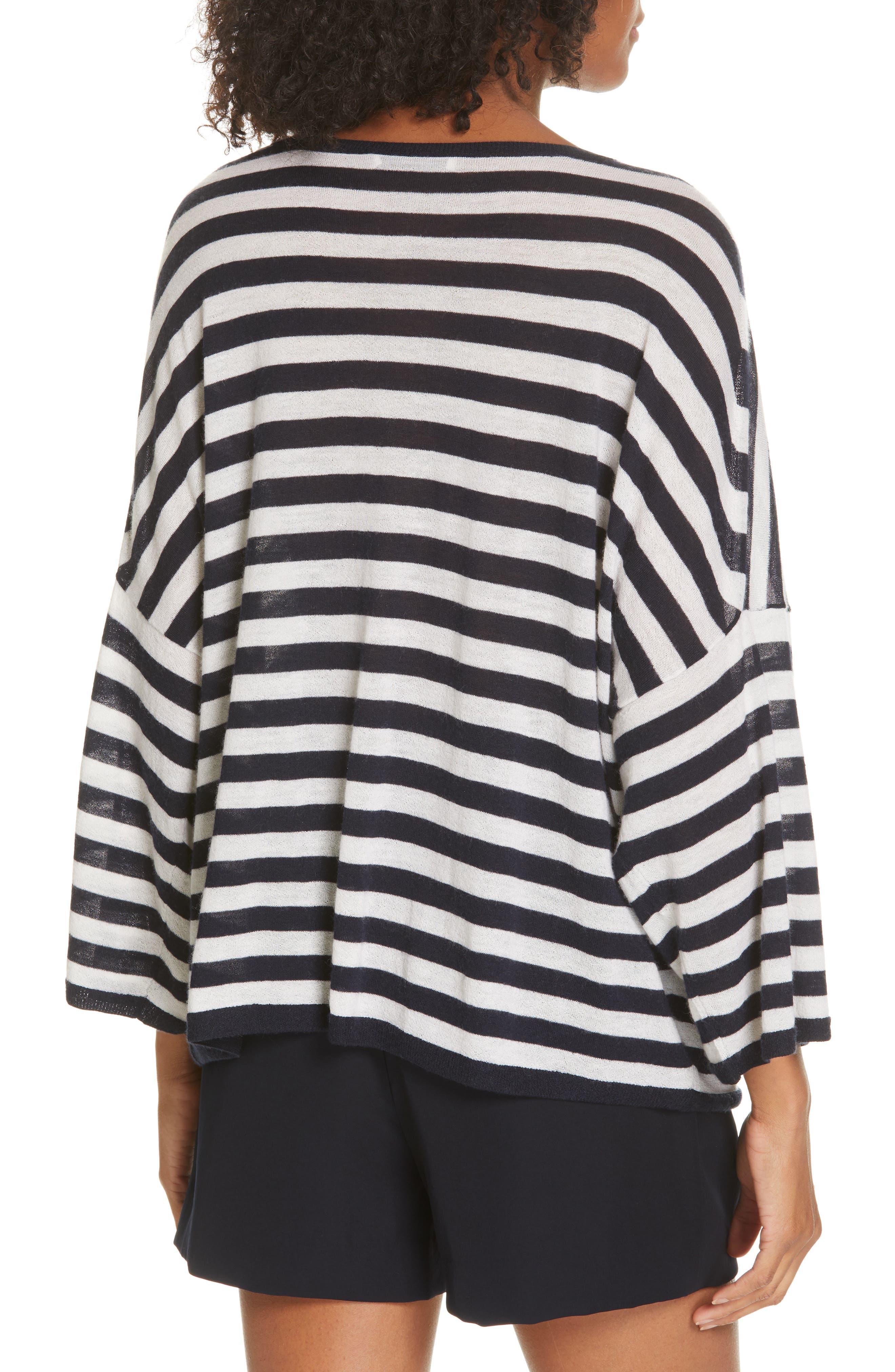 ,                             Stripe Boxy Wool & Cashmere Sweater,                             Alternate thumbnail 2, color,                             COASTAL/ CREAM