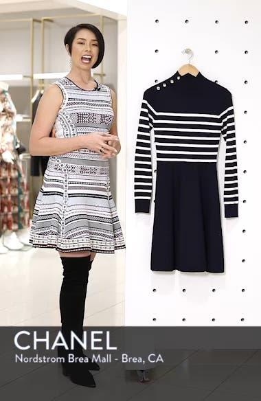 Stripe Mock Neck Fit & Flare Dress, sales video thumbnail