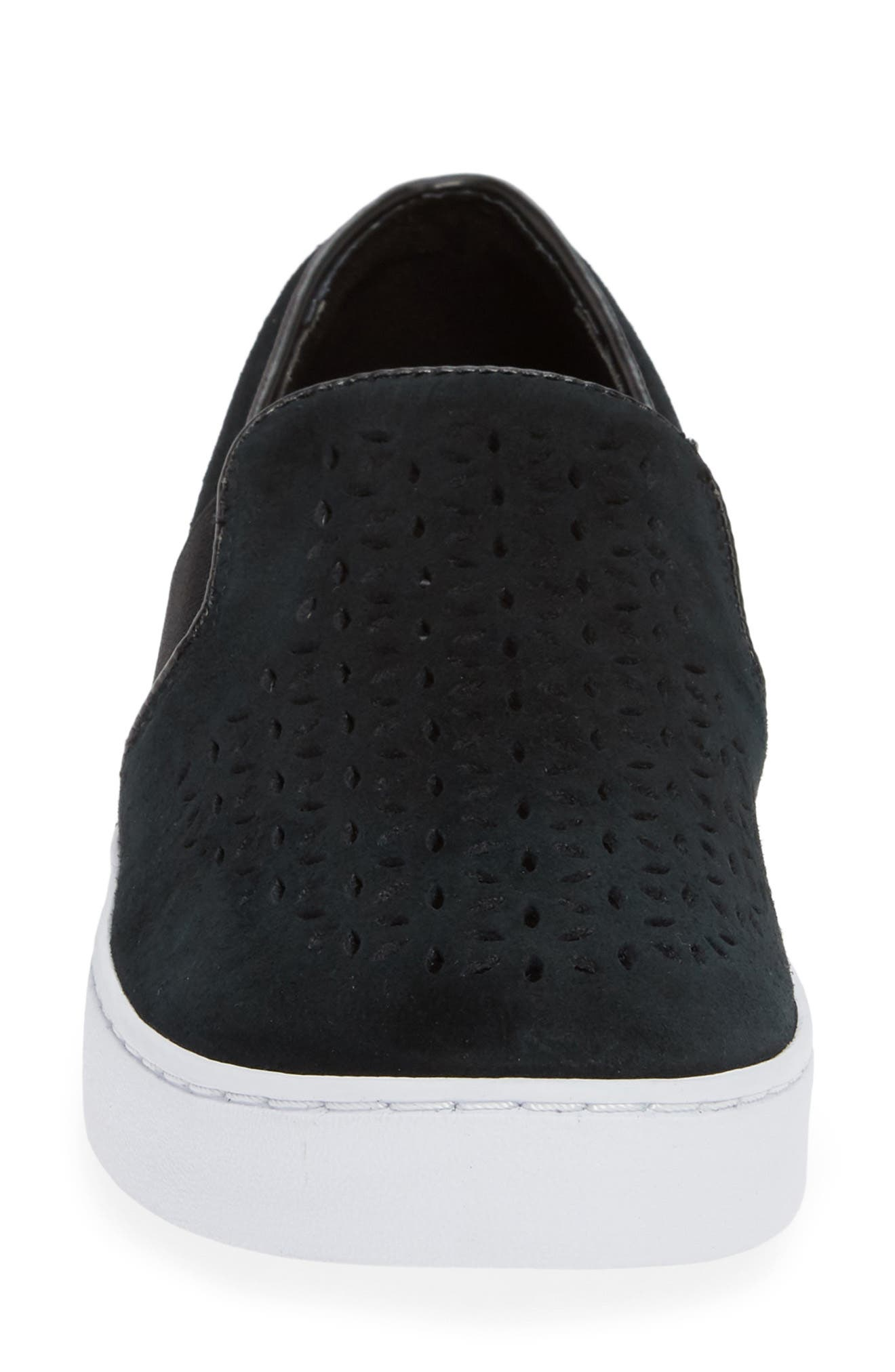 ,                             Kani Perforated Slip-On Sneaker,                             Alternate thumbnail 4, color,                             BLACK NUBUCK