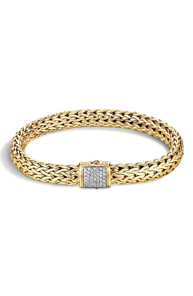 JOHN HARDY Classic Chain Diamond & 18K Gold Medium Bracelet, Main, color, GOLD/ DIAMOND