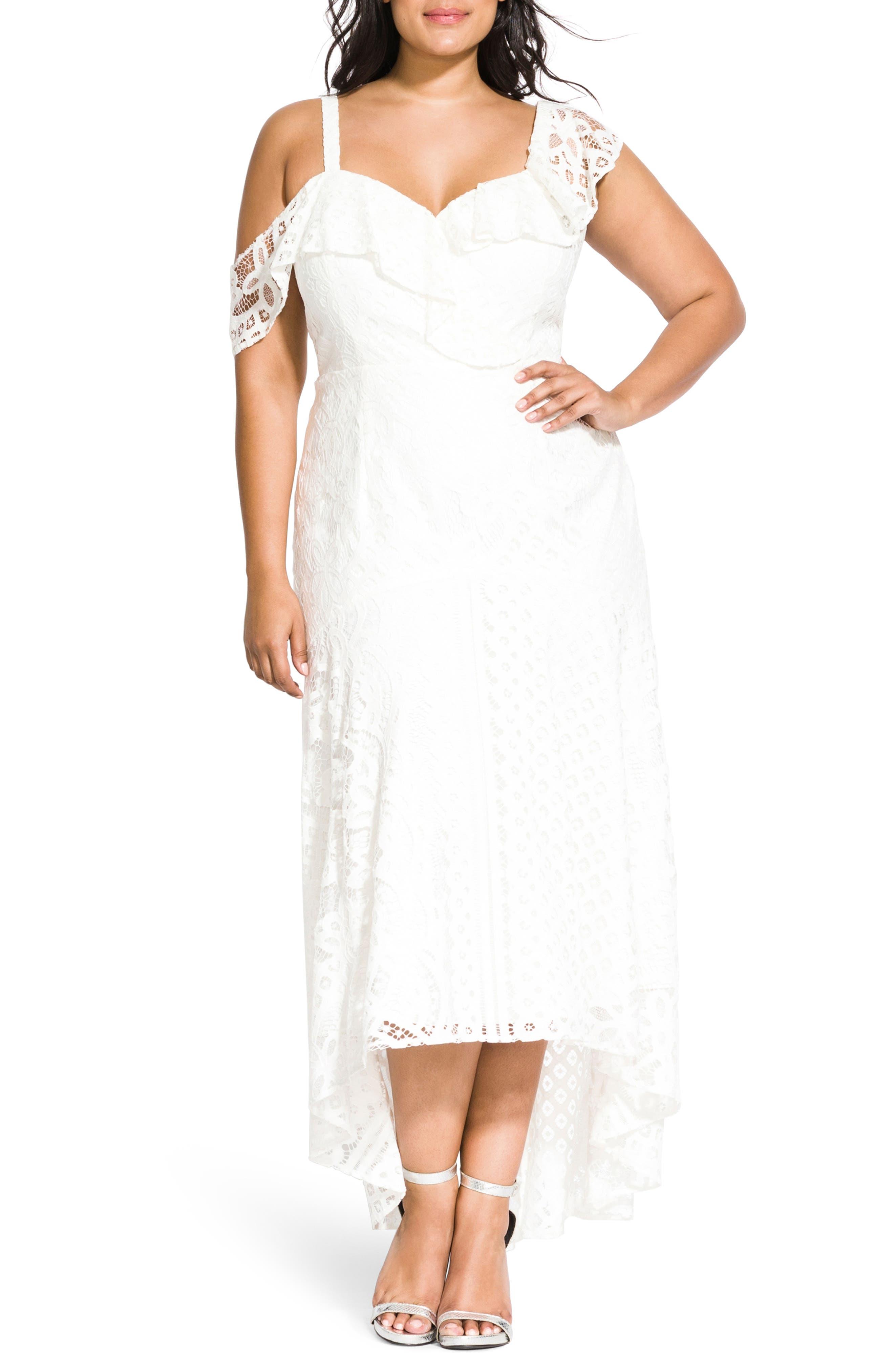 Plus Size City Chic Femme Fatale Maxi Dress, White