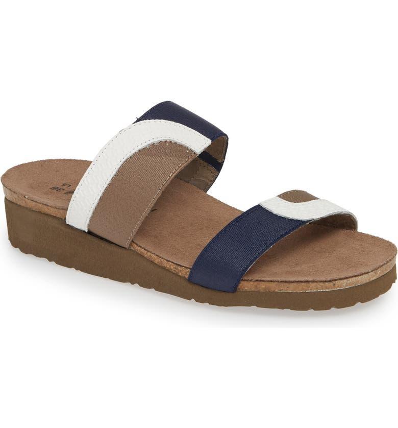 NAOT Frankie Slide Sandal, Main, color, WHITE/ BLUE/ KHAKI LEATHER