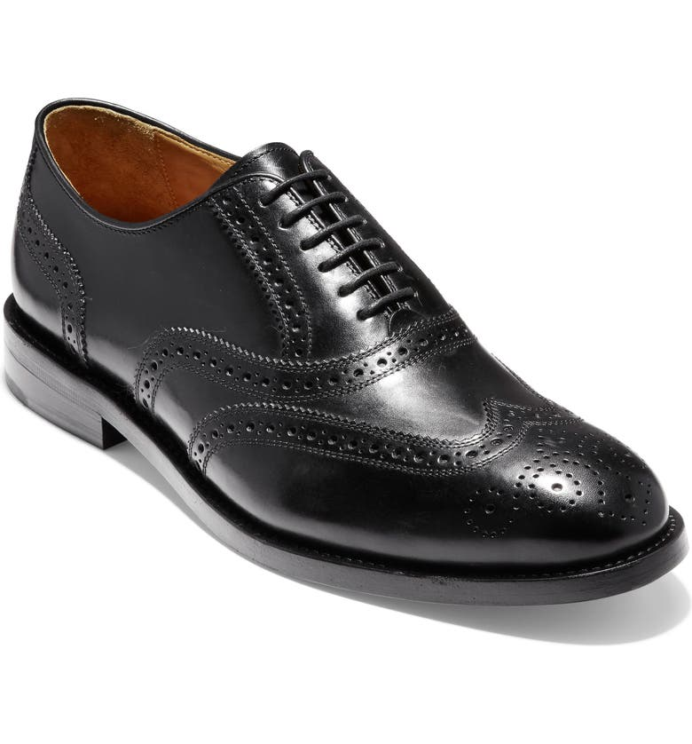 COLE HAAN American Classics Kneeland Wingtip, Main, color, BLACK LEATHER