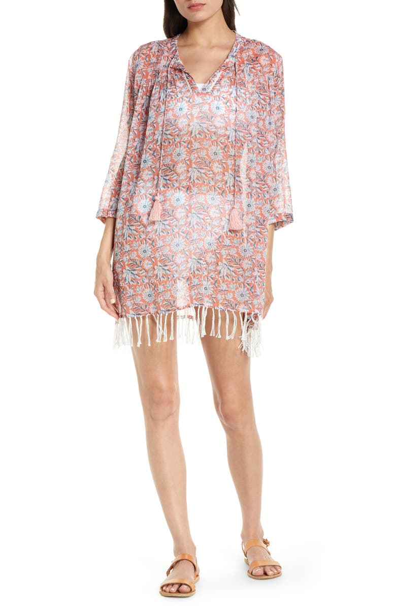 ROLLER RABBIT Serafina Cotton Cover-Up Tunic, Main, color, CORAL