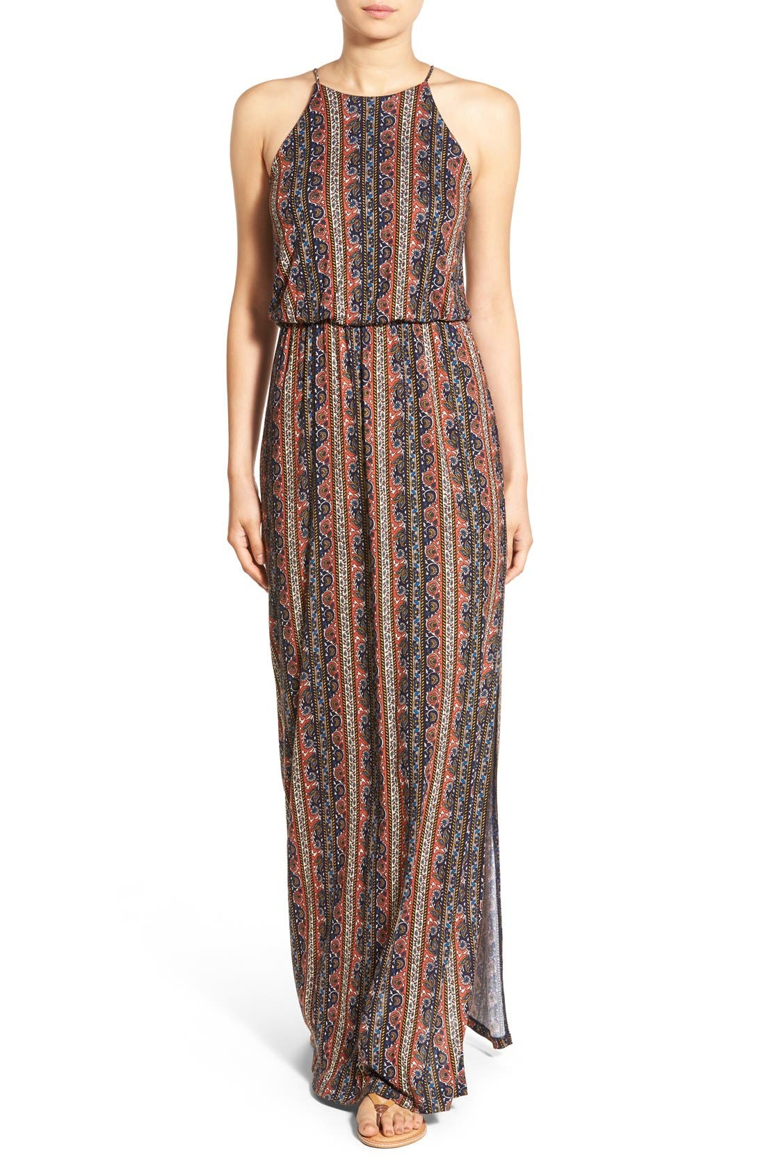 ,                             High Neck Maxi Dress,                             Main thumbnail 90, color,                             400