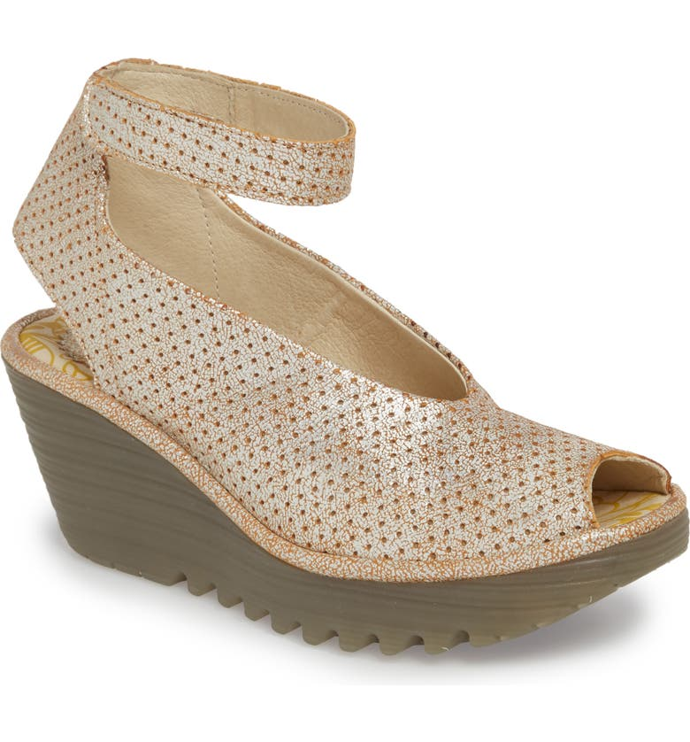 FLY LONDON 'Yala' Perforated Leather Sandal, Main, color, 101