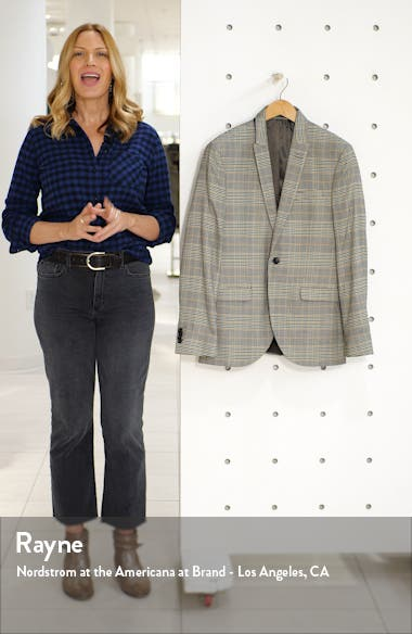 Slim Fit Plaid Peaked Lapel Suit Coat, sales video thumbnail