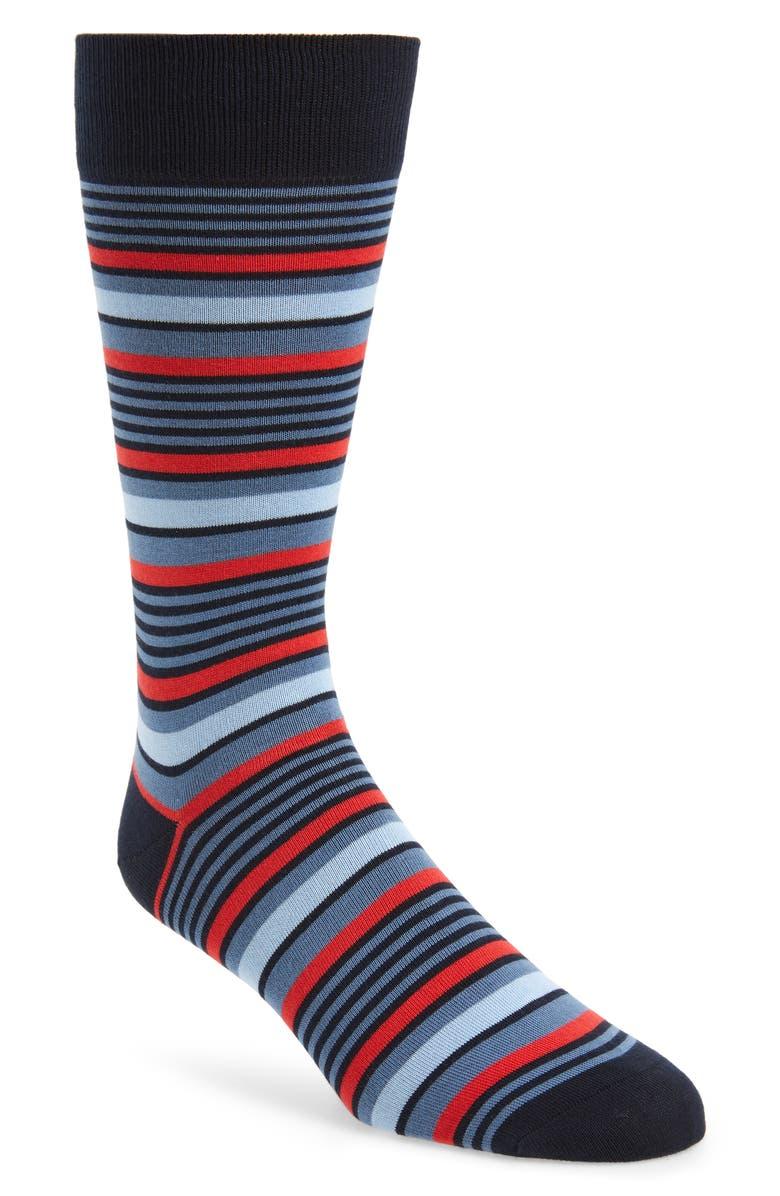 PANTHERELLA Sea Island Stripe Socks, Main, color, NAVY