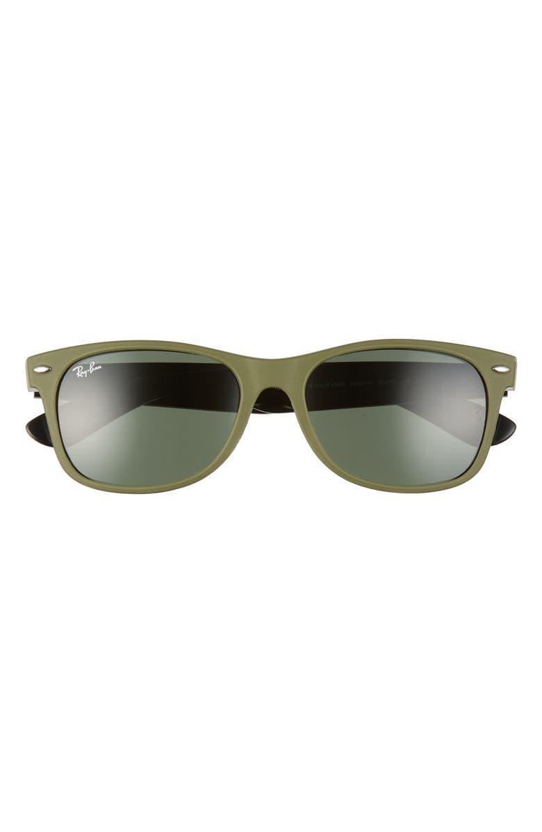 RAY-BAN 'New Wayfarer' 55mm Sunglasses, Main, color, MILITARY GREEN/ GREEN