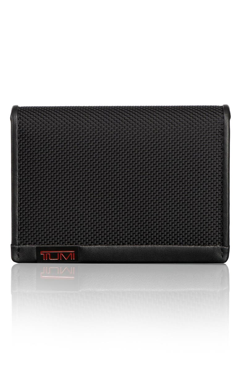 TUMI Alpha ID Lock<sup>™</sup> Shielded Gusseted Card & ID Case, Main, color, BLACK