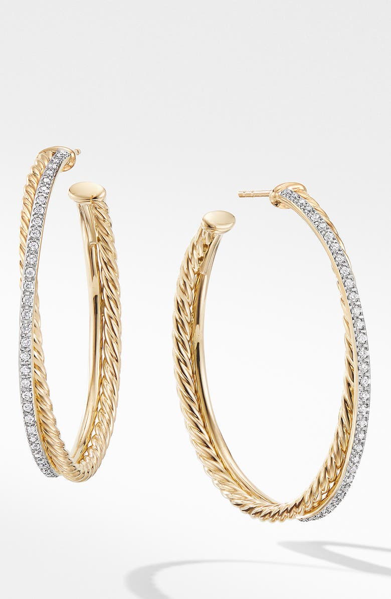 DAVID YURMAN Extra Large Crossover Hoop Earrings with Diamonds, Main, color, GOLD/ DIAMOND
