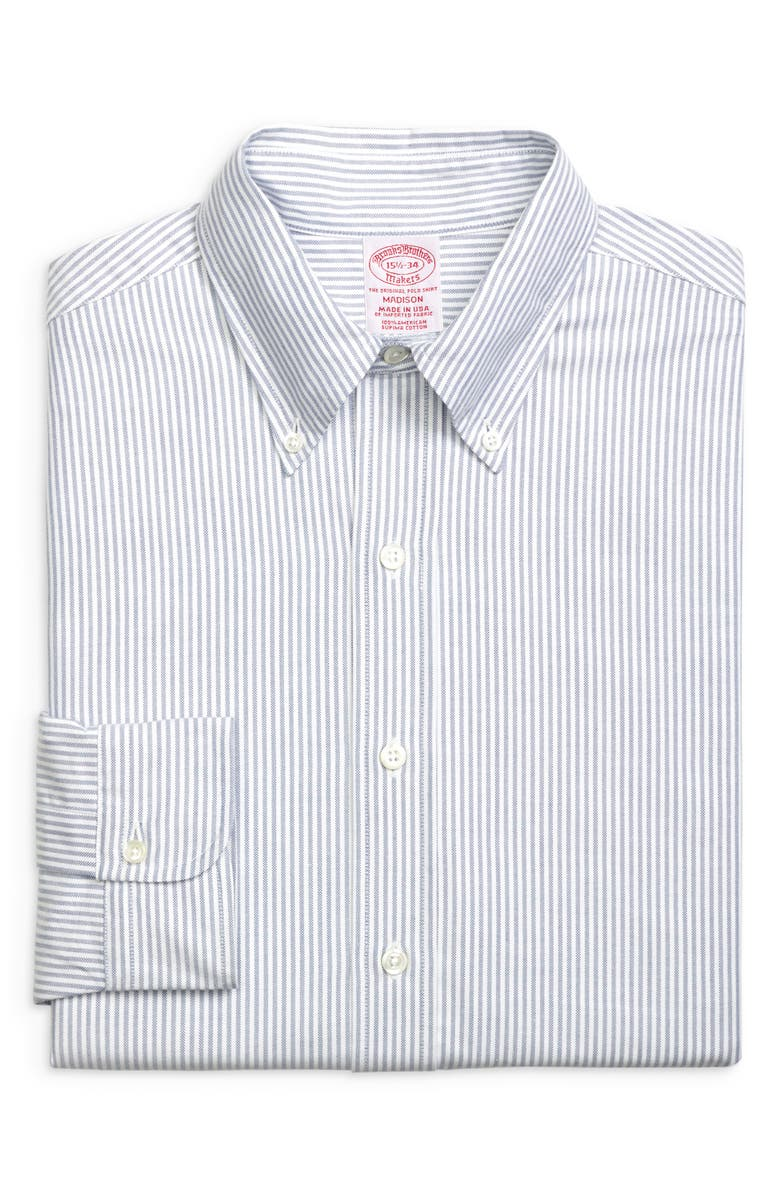 BROOKS BROTHERS Madison Classic Fit Stripe Dress Shirt, Main, color, BNGLSTRP BL