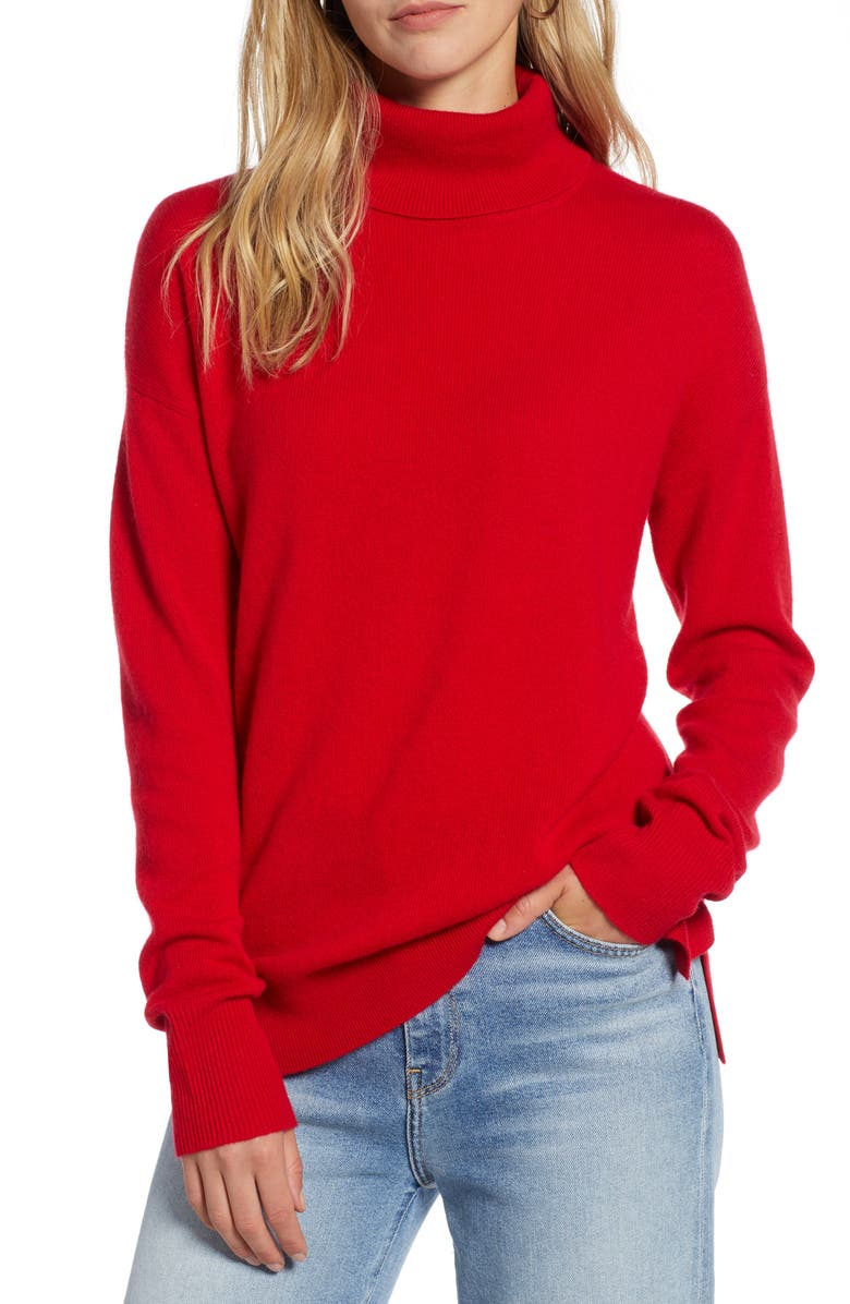 HALOGEN<SUP>®</SUP> Cashmere Turtleneck Sweater, Main, color, RED