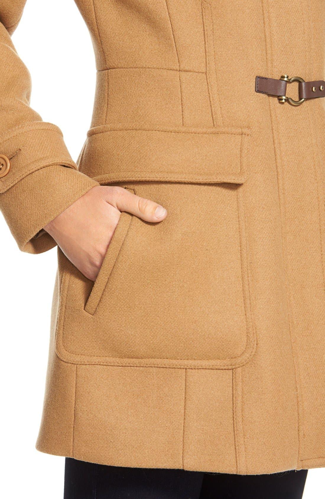 ,                             Genuine Coyote Fur Trim Wool Blend Duffle Coat,                             Alternate thumbnail 10, color,                             262