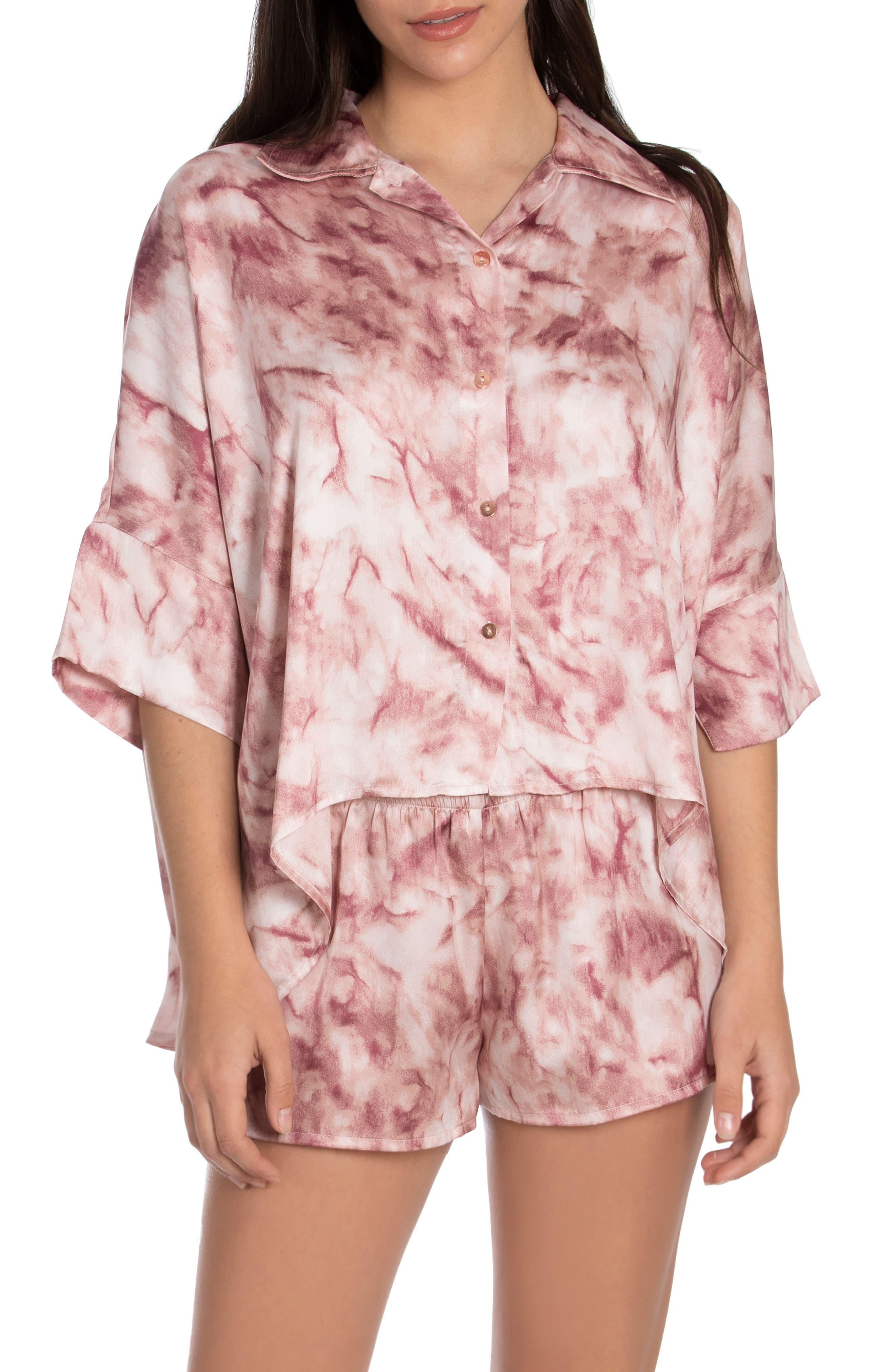 Tie Dye Satin Short Pajamas