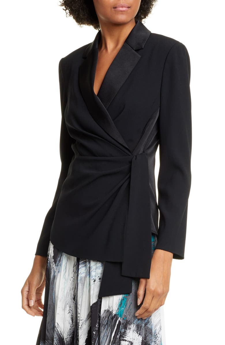 DVF Lana Satin Shawl Collar Wrap Blouse, Main, color, BLACK