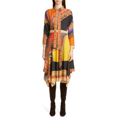Etro Colorblock Print Wool & Silk Dress, US / 46 IT - Orange