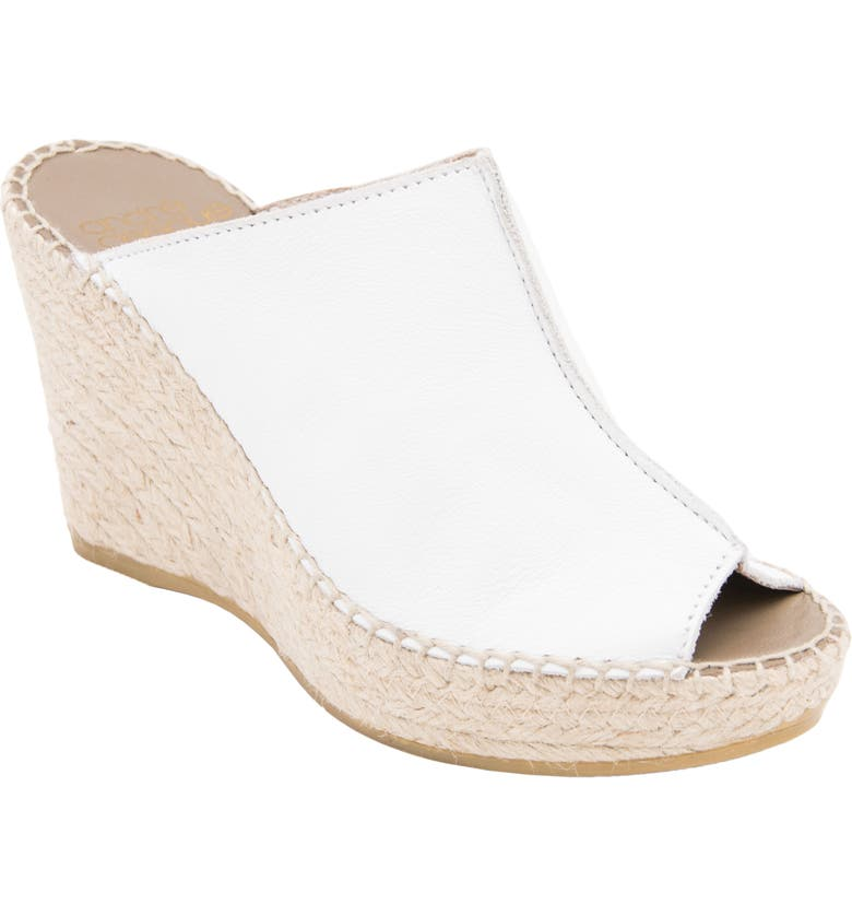 ANDRÉ ASSOUS Cici Espadrille Wedge, Main, color, WHITE LEATHER