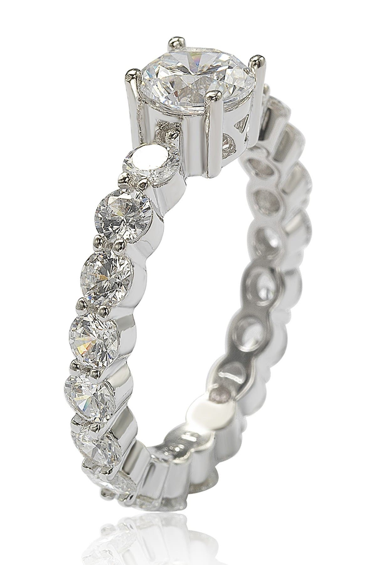 Image of Suzy Levian Sterling Silver Round-Cut CZ Center Stone Engagement Ring