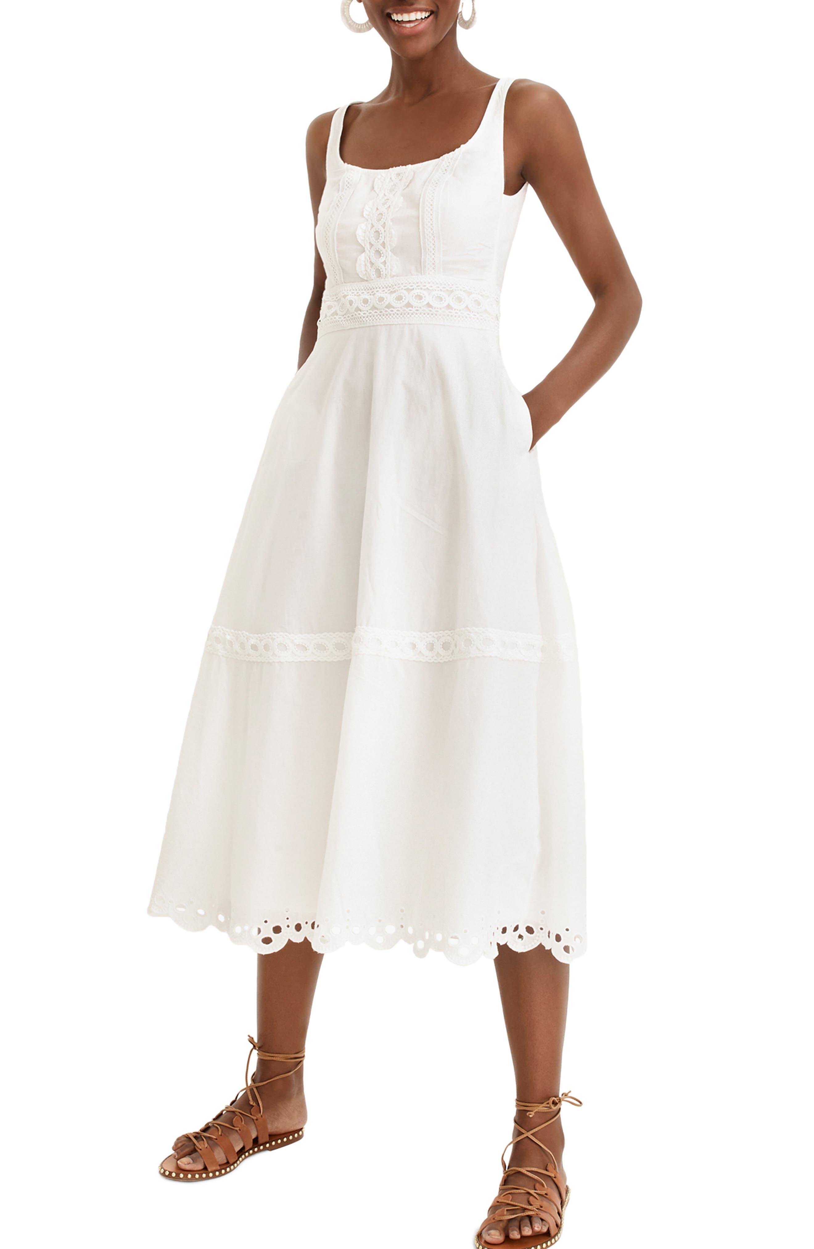J.crew Eyelet Trim Organic Cotton Midi Dress, White