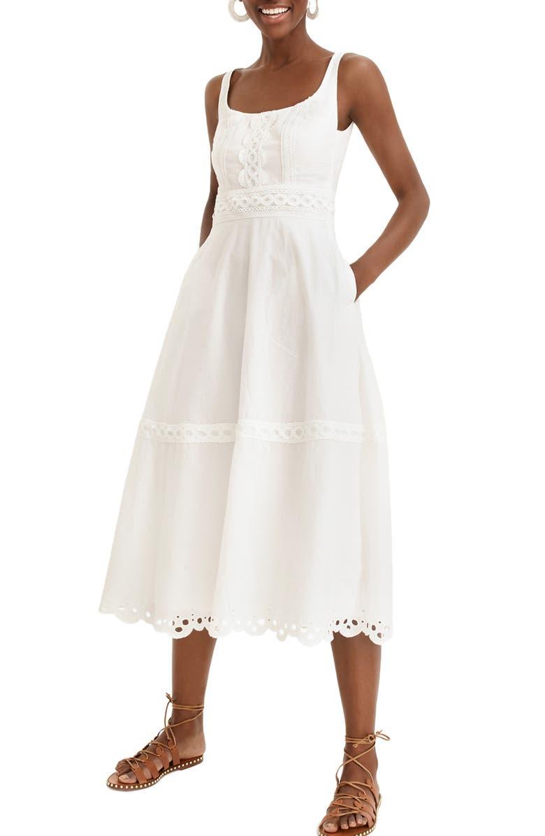 J.CREW Eyelet Trim Organic Cotton Midi Dress, Main, color, WHITE
