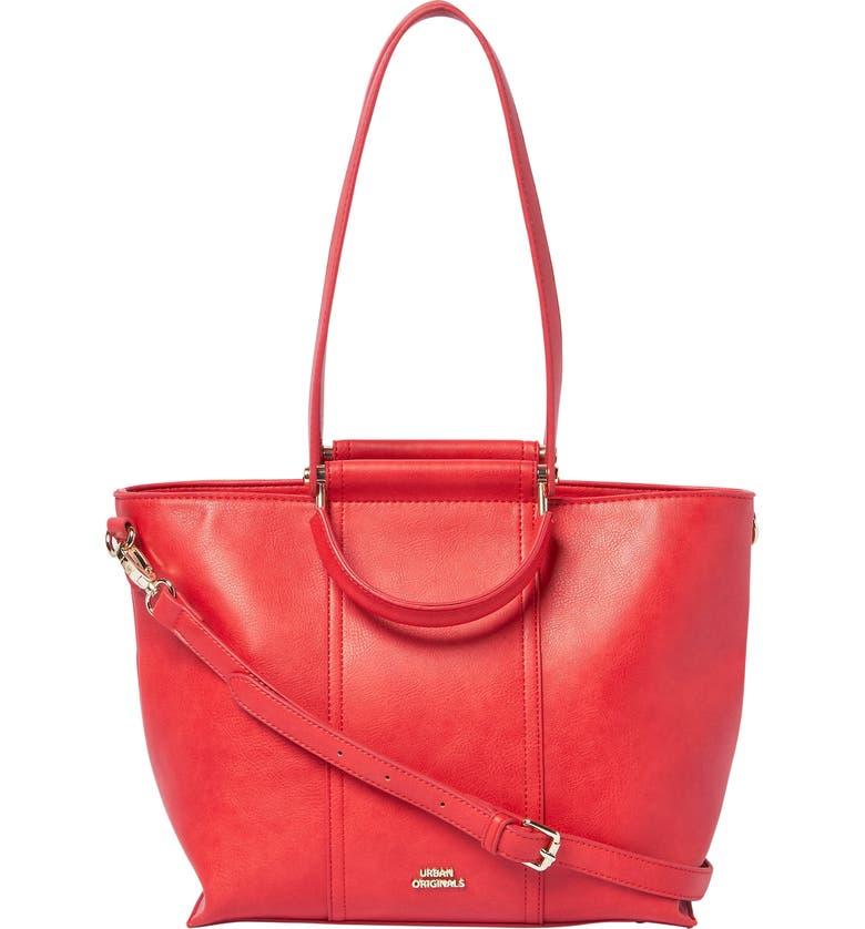 URBAN ORIGINALS Rich Girl Vegan Leather Tote, Main, color, RED