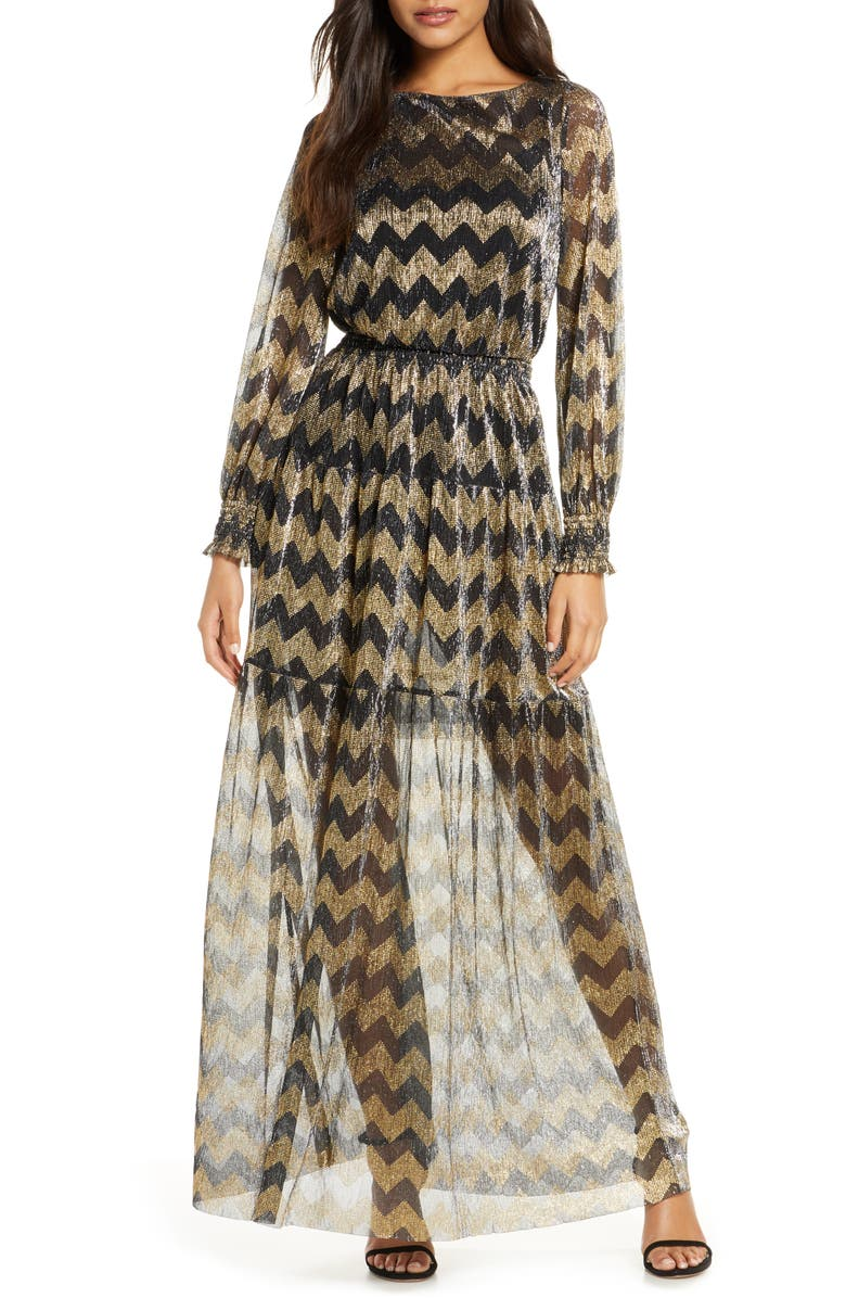 ELIZA J Metallic Chevron Stripe Long Sleeve Maxi Dress, Main, color, GOLD