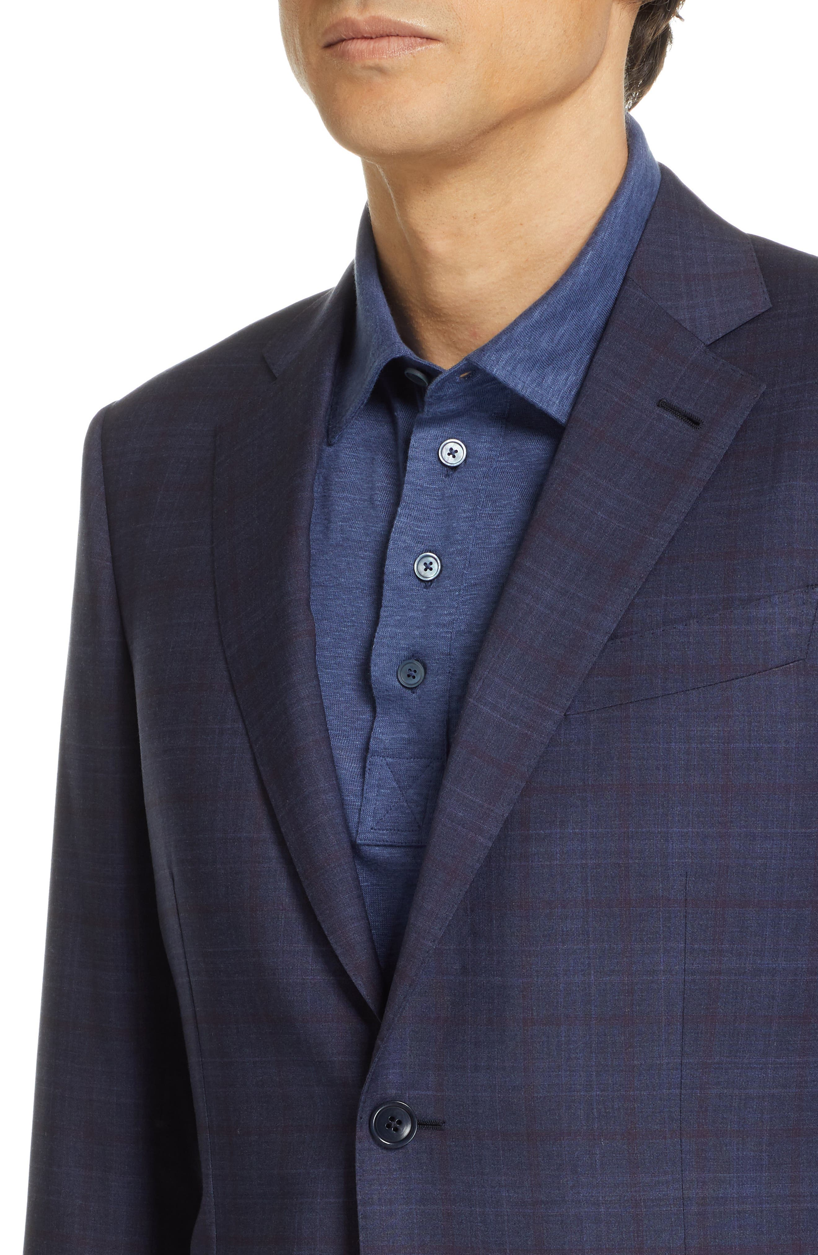 ,                             Milano Classic Fit Plaid Wool Suit,                             Alternate thumbnail 4, color,                             NAVY