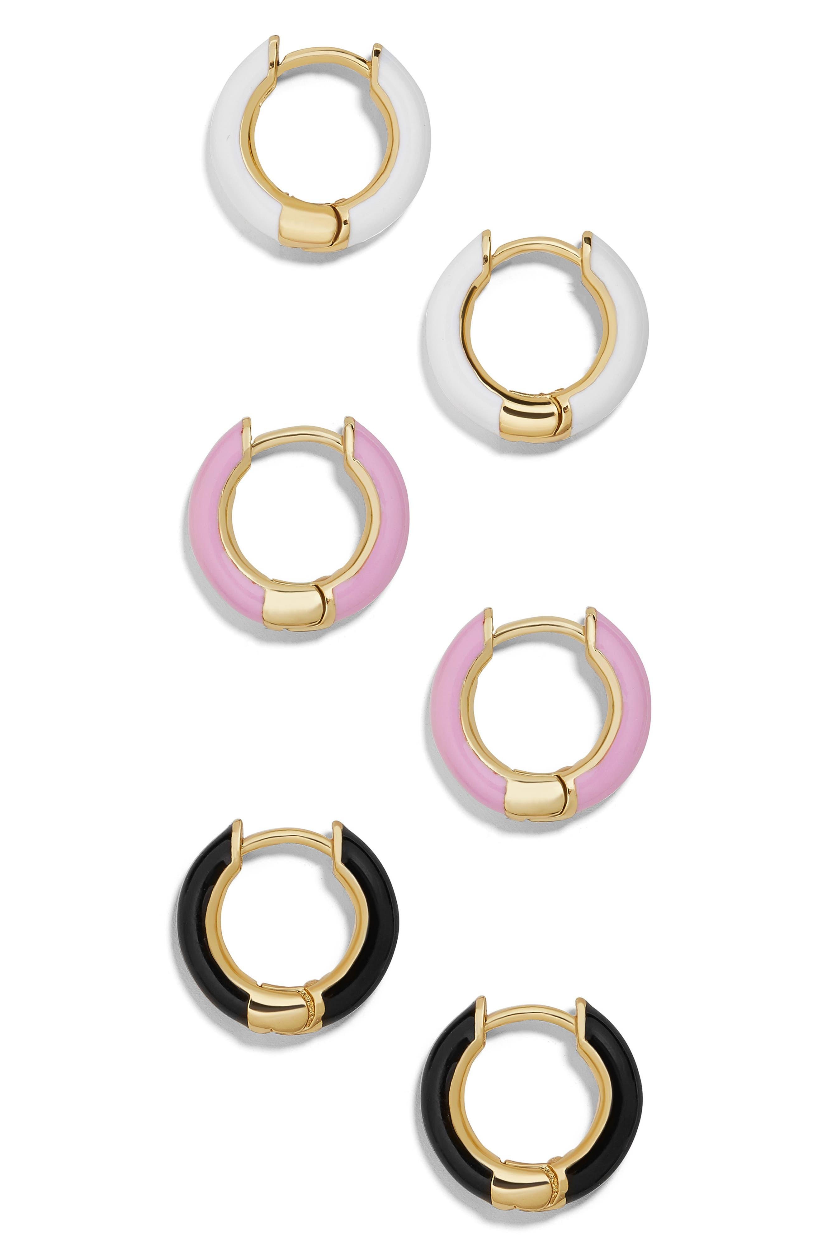 Tiesha Set of 3 Huggie Earrings, Main, color, MULTI