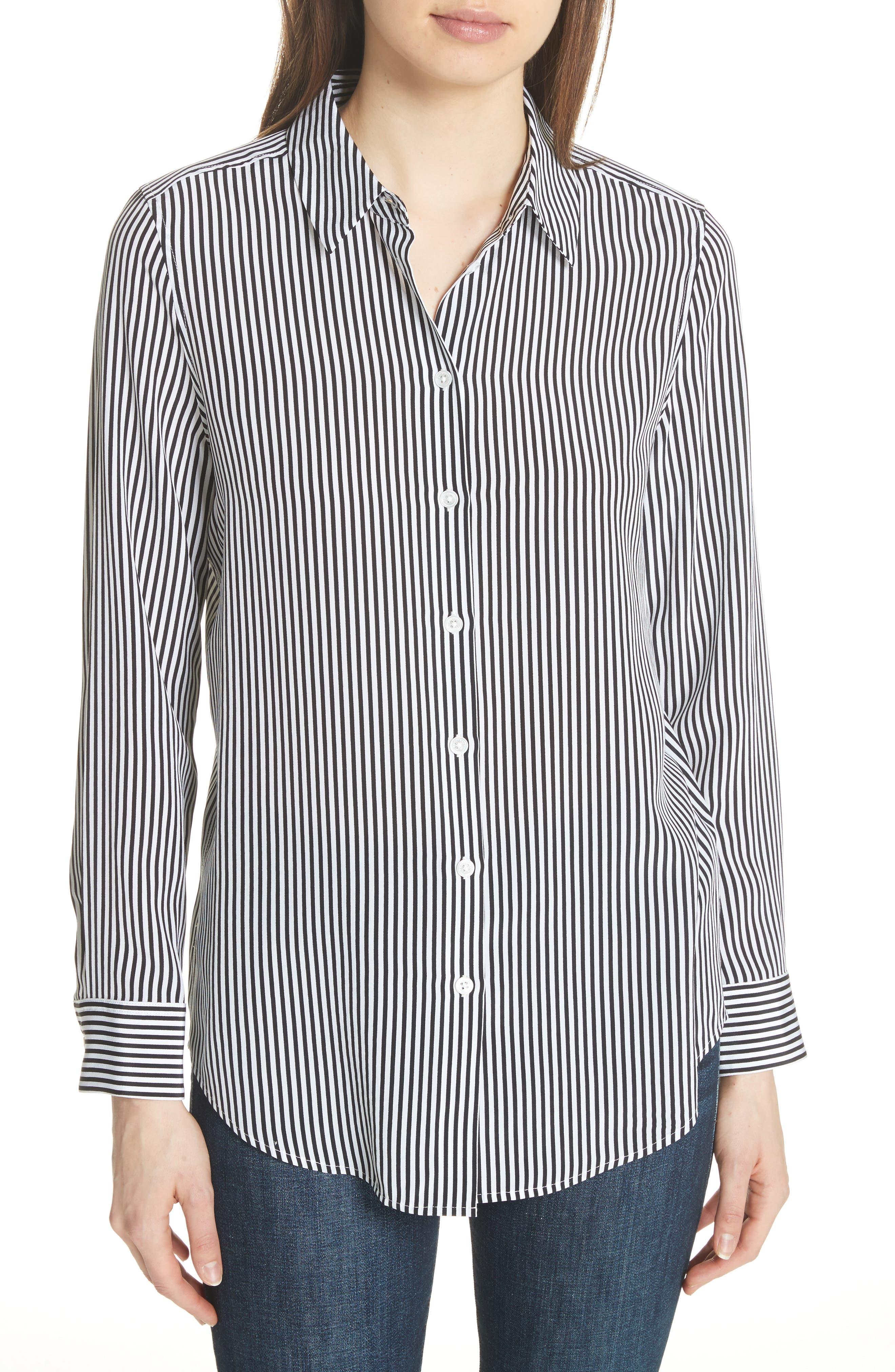 ,                             Essential Stripe Silk Shirt,                             Main thumbnail 1, color,                             BRIGHT WHITE - TRUE BLACK