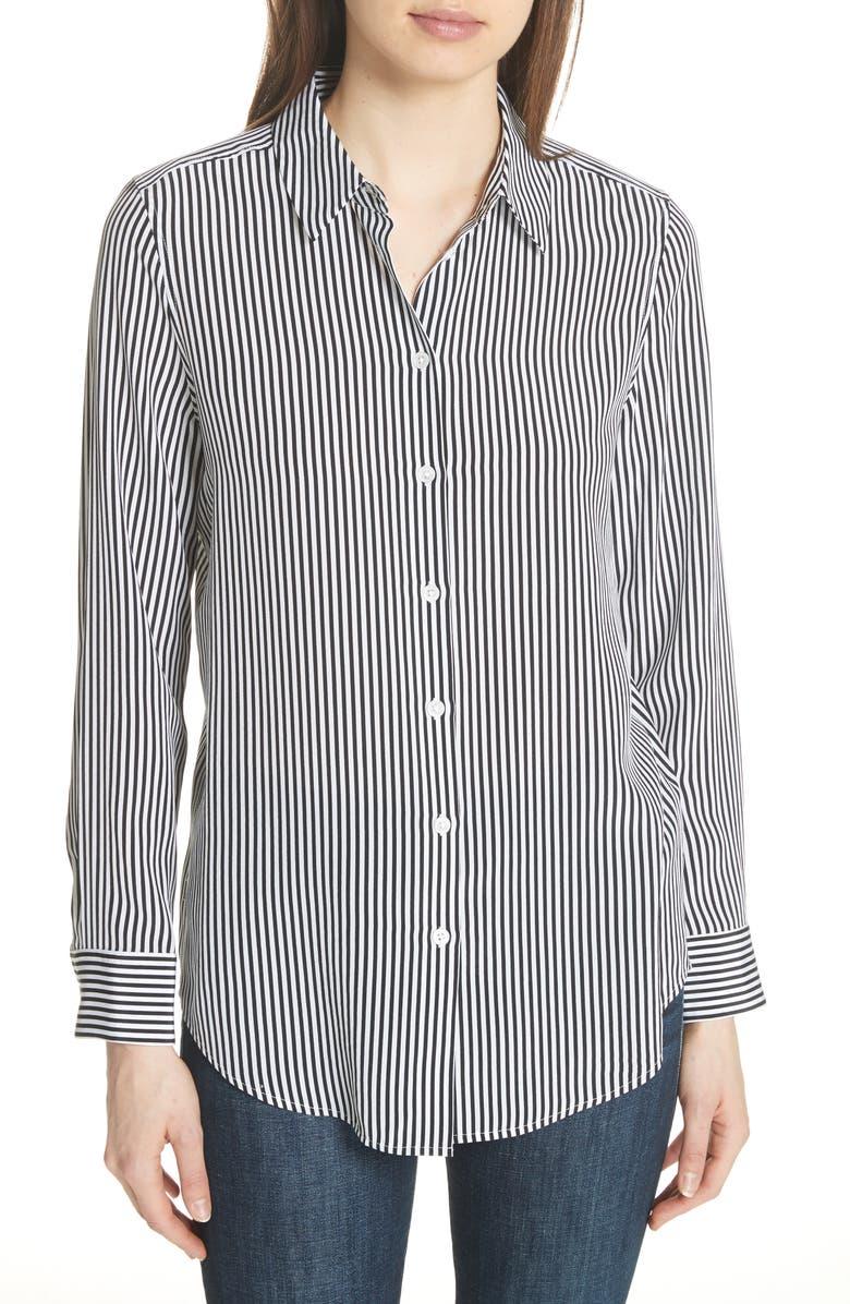 EQUIPMENT Essential Stripe Silk Shirt, Main, color, BRIGHT WHITE - TRUE BLACK