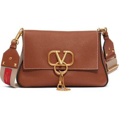 Valentino Garavani Small V-Ring Leather Shoulder Bag - Brown