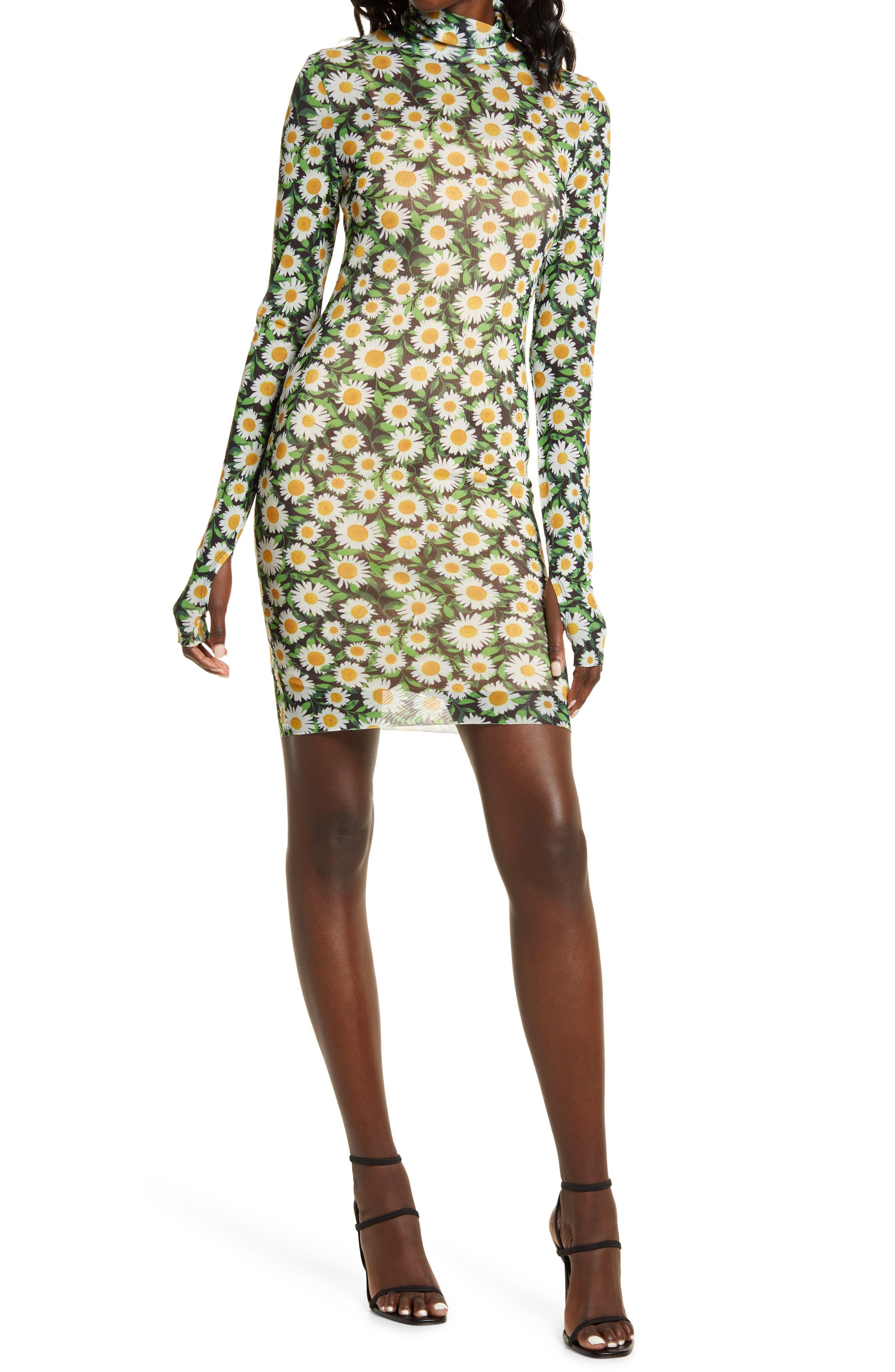 Mari Print Long Sleeve Turtleneck Mesh Body-Con Dress