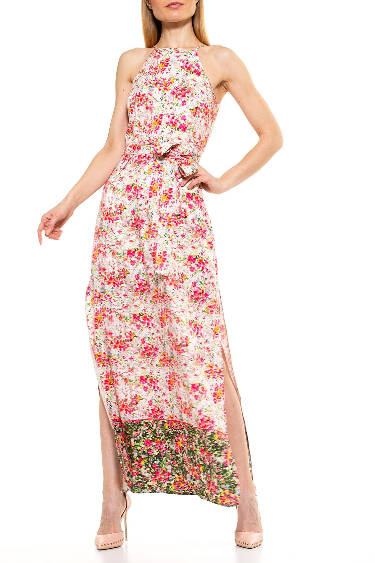 Image of Alexia Admor Monica Floral Print Belted Maxi Dress