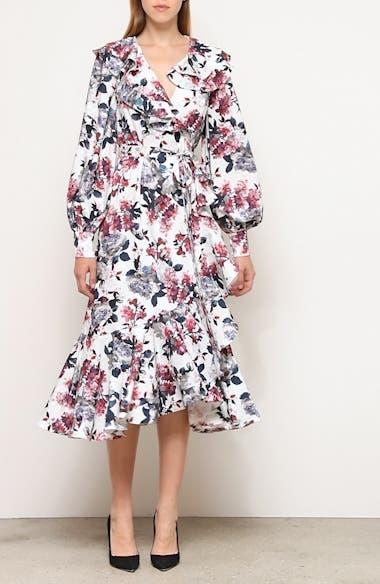 Rose Print Ruffle Long Sleeve Midi Dress, video thumbnail