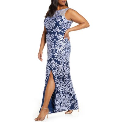 Plus Size Js Collections Leaf Embroidered Gown, Blue