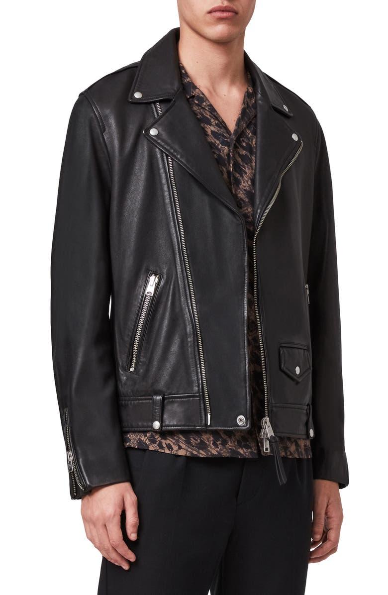ALLSAINTS Milo Leather Biker Jacket, Main, color, BLACK