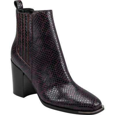 Marc Fisher Ltd Taline Croc-Embossed Square Toe Boot- Red