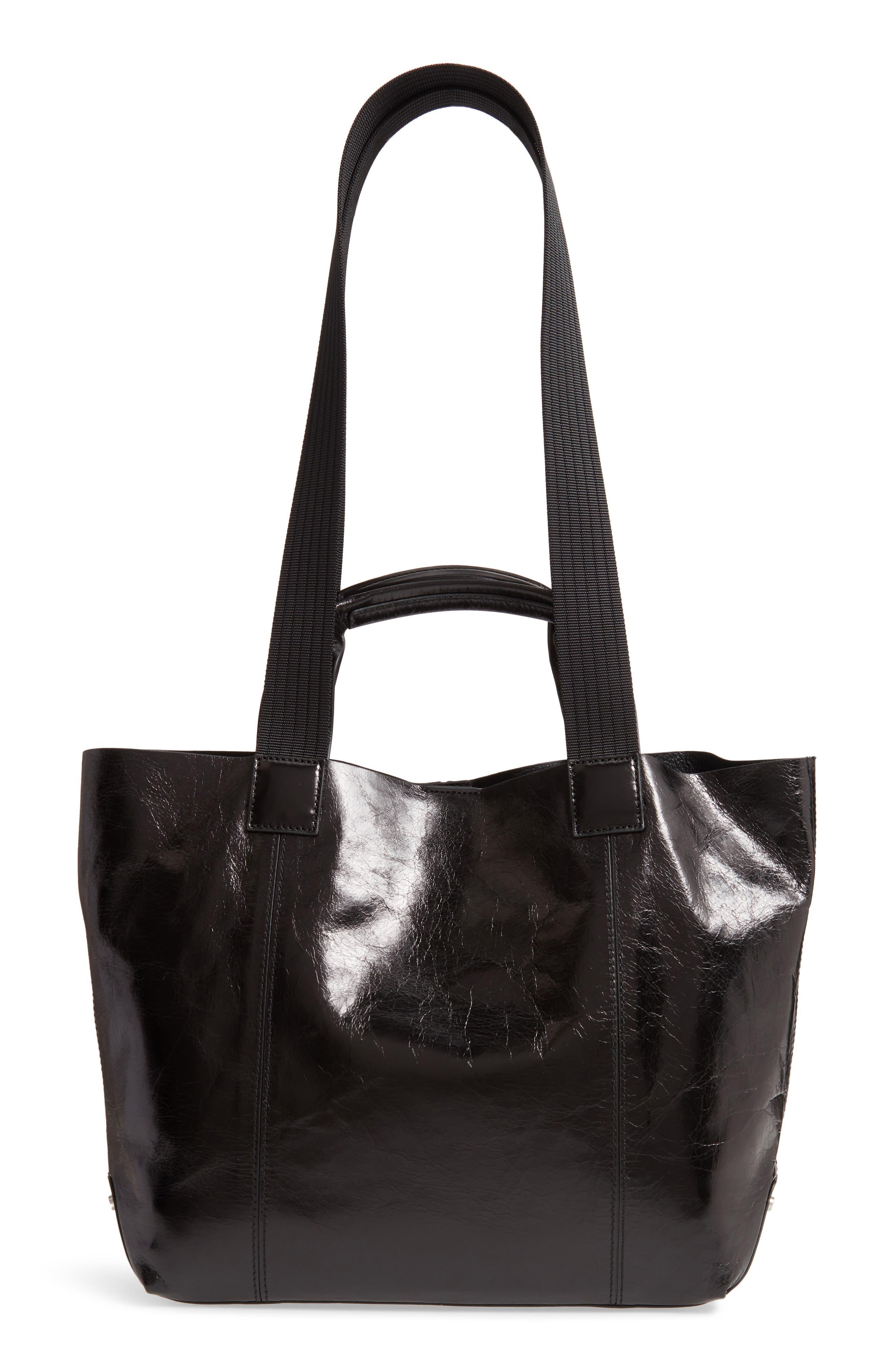 Austen Leather Tote, Main, color, BLACK