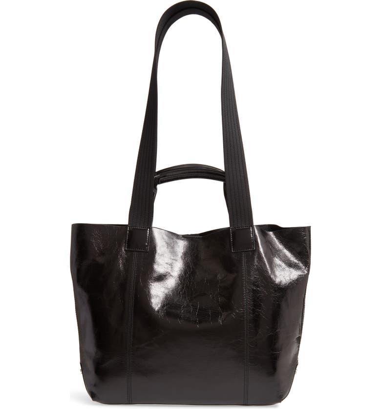 TREASURE & BOND Austen Leather Tote, Main, color, BLACK