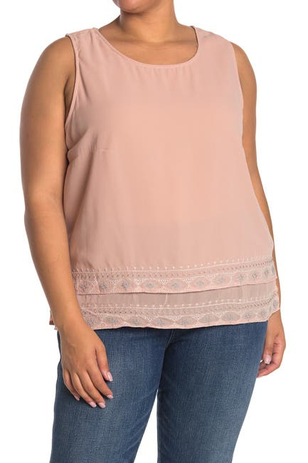 Image of Forgotten Grace Embroidered Detail Sleeveless Tank