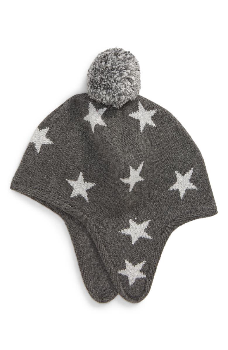 TUCKER + TATE Fair Isle Earflap Hat, Main, color, GREY CHARCOAL HEATHER STARS