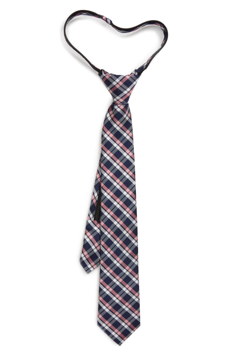 NORDSTROM Maximus Plaid Silk Zipper Tie, Main, color, PINK