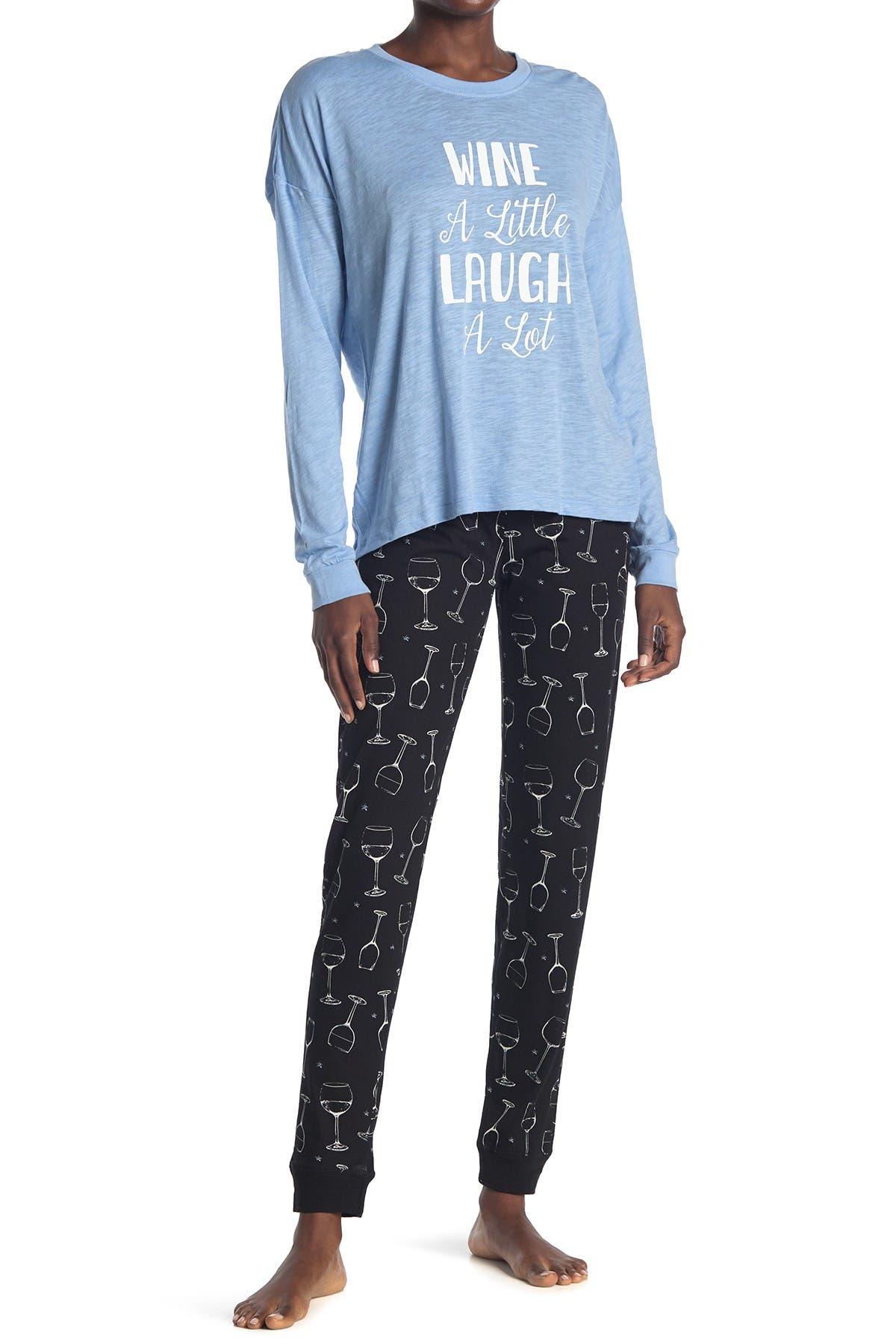Image of COZY ZOE Printed Shirt & Pants 2-Piece Pajama Set